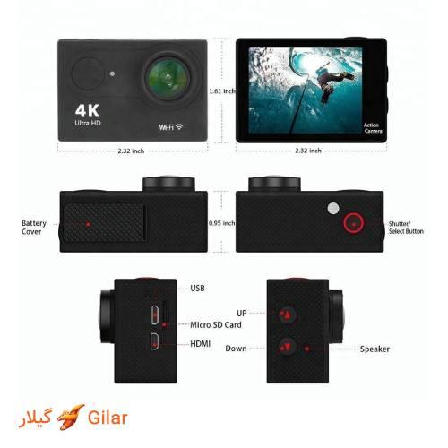 مشخصات ظاهری دوربین ورزشی ضد آب اکن H9R